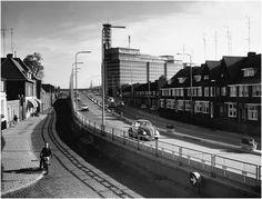 """Beukenlaan, """"Strijps Bultje"""" gezien vanaf de 'Plaggenstraat' Auteur(s)Swinkels, Noud # Foto Enface (fotograaf) 1966"""