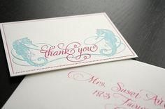 Letterpress thank you cards - stationery - beach - shore - seahorse #beachwedding #letterpressthankyou #letterpressstationery