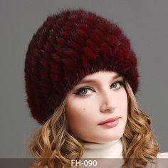 2836c608 FURTALK Women Luxury knit mink fur hat winter fur hat Russian Women Natural Fur  cap Winter Hat Beanie for women