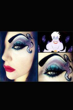 Disney Ursula Makeup-- this would be so cute for Halloween with a black mini dress! Ursula Makeup, Disney Eye Makeup, Emma Makeup, Dear Makeup, Make Up Art, Eye Make Up, Lila Party, Halloween Karneval, Maquillaje Halloween