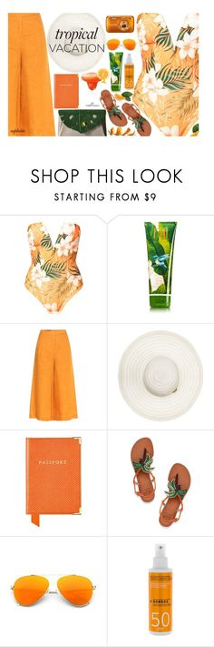 """Welcome to Paradise"" by angkclaxton ❤ liked on Polyvore featuring Loro Piana, Aspinal of London, Disney, Tory Burch, Korres, Charlotte Olympia, Summer, vacation, TropicalVacation and summer2017"