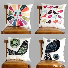 Oh yes , I have cushions too ! Link in profile - soft and plump and colourful ! #cushions #digitallyprinted #janeormes #interiors #illustration #ofcoursetherearebirds #washable #plumpthosecushions