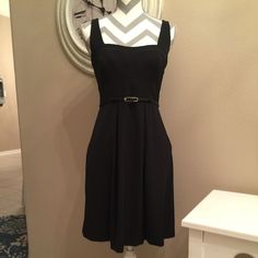 "Black Halo A line dress. Really nice dress that can be worn from office to date night!  Empire waist, 22"" from belt to hem & 37"" from shoulder to hem. Hidden zipper under left arm. Black Halo Dresses Mini"
