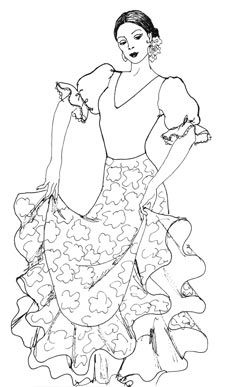 coloring pages flamenco dancers - photo#5