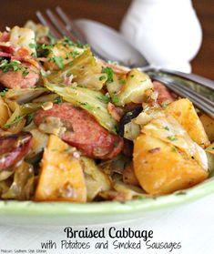 This simple braised cabbage dish is packed with flavor and won't break the bank #braisedcabbage #cabbage #friedcabbage #potatoes #smokedsausages #kielbasa #cabbagepotatoessmokedsausages #dinner #dinnerideas #southernfood #southernrecipes Cabbage Recipes, Pork Recipes, Cooking Recipes, Healthy Recipes, Yummy Recipes, Oven Cooking, Cooking Light, Cooking Ideas, Rice