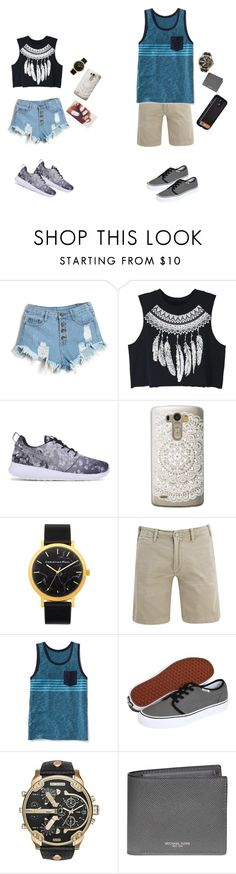 """""""summer"""" by eloise-lessard ❤ liked on Polyvore featuring WithChic, NIKE, Casetify, Polo Ralph Lauren, Old Navy, Vans, Diesel, Michael Kors and Case-Mate"""
