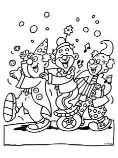 Kleurplaat 3 feestende clowns - carnaval - Kleurplaten.nl Circus Activities, Circus Crafts, Circus Art, Circus Theme, Free Christmas Coloring Pages, Cute Coloring Pages, Adult Coloring Pages, Coloring Pages For Kids, Coloring Books