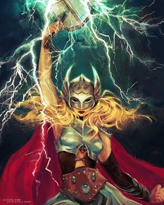 THOR ⚡️ Brand new reveal, another portrait I did for my upcoming book, Powers of a Girl! This is Jane Foster looking fierce - one… Marvel Comics Art, Marvel Heroes, Marvel Characters, Marvel Avengers, Tigra Marvel, Marvel Women, Marvel Girls, Thor Girl, Lady Thor