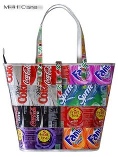 Handbag purse made using recycled recycle can cans reclaimed materials, post consumer, eco friendly green environmental fashion PD Diy Purse, Tote Purse, Recycled Crafts, Recycled Materials, Handbags On Sale, Purses And Handbags, Candy Wrapper Purse, Pop Can Crafts, Recycle Cans