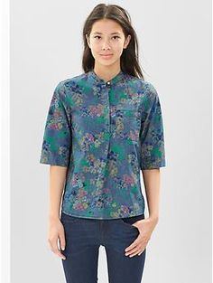 Floral chambray popover henley | Gap