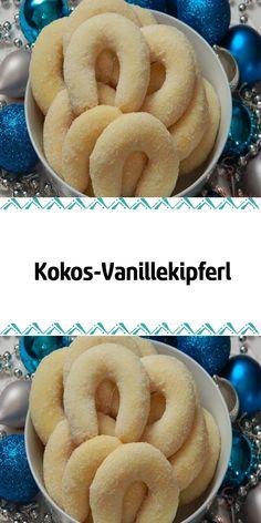 Finally, I found a very good coconut-flavored Vanillekipferl recipe that I taste. Best Appetizers, Appetizer Recipes, Dessert Recipes, Mini Desserts, Sweet Desserts, Cupcakes, Fall Recipes, Sweet Recipes, Vanilla Biscuits