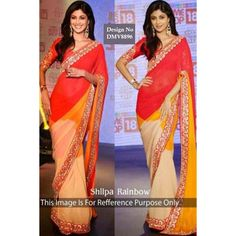 Cheap saree online, Orange georgette sarees, U neck blouse now in shop. Andaaz Fashion brings latest designer ethnic wear collection in US