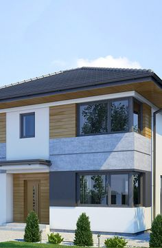 Projekt ekonomicznego domu piętrowego z jednostanowiskowym garażem i czterema sypialniami na górnej kondygnacji. Elegancka, nowoczesna bryła budynku podkreślona narożnymi oknami oraz płaszczyznami tynku o pastelowych barwach oraz prosta forma dachu są atrakcyjne, a zarazem nie obciążają nadmiernie kieszeni inwestora. Na stosunkowo niewielkiej powierzchni wewnątrz domu, urządzono wygodne wnętrze. Na uwagę zasługują przestronne sypialnie z dużymi narożnymi oknami, a także wygodna klatka… House Paint Exterior, Building Exterior, Exterior Design, Modern Architecture House, Architecture Design, House Elevation, Big Windows, House Entrance, Facade House