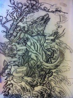 Grey Ink Wolf Tattoo Design