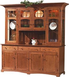 In the Solano China Hutch there are four wood doors on the base and four glass doors on the hutch. This traditional dining hutch also provides you with three dovetail drawers. Mission Furniture, Amish Furniture, Solid Wood Furniture, Furniture Making, Pine Furniture, Furniture Ideas, Dining Room Buffet, Dining Room Furniture, Buffet Hutch