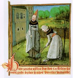 Manor Lady Supervising Woman Gardner    Christine de Pisan, Cité des Dames, MS. ADD. 20698, f. 17, Dutch version, 1475