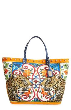 DOLCE   GABBANA MAIOLICA CANVAS TOTE - WHITE.  dolcegabbana  bags  leather   hand bags  canvas  tote   878886d5e8043