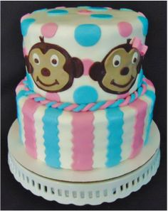 Monkey Pink and Blue Gender Reveal Cake with pink and blue marble cake.  www.OakTreeJunction.com