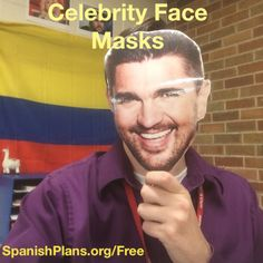 Celebrity Face Masks for Spanish Class: Includes over 15 faces such as Juanes, Kanye West, Taylor Swift, Beyonce, and more! High School Spanish, Spanish Teacher, Spanish Classroom, Teaching Spanish, Class Activities, Listening Activities, Learning Stations, Active Listening, Celebrity Faces