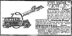 Yiddish-Polish press ad for Oświęcim-Praga cars