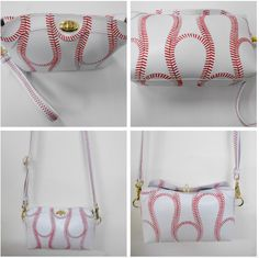 Sports purses made of the material of the ball they represent.  Baseball purse, softball purse, basketball purse, volleyball purse, tennis purse, football purse and soccer purse
