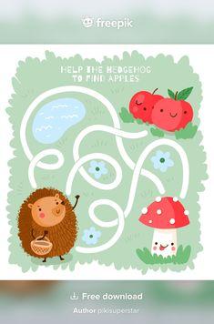 Free Preschool, Preschool Worksheets, Mazes For Kids, Cute Coloring Pages, Kid Activities, Vector Free, Cartoon, Digital, Book