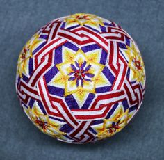 """4 Inch Diameter Temari (Japanese Embroidered Ornamental Ball), Purple Ball, """"Floral Celebration"""" Pattern by TheIllustratedEgg on Etsy"""