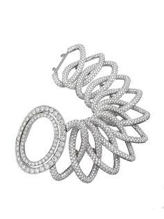Ivanka Trump 18k White Gold Signature Pave Diamond Open Oval Link Bracelet. Available at London Jewelers.
