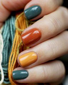 Fall Nail Art, Autumn Nails, Fall Nail Polish, Stylish Nails, Trendy Nails, Cute Nails, Nail Colors, Nail Color Combos, Thanksgiving Nails