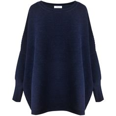 Paisie Navy Oversized Ribbed Jumper ($100) ❤ liked on Polyvore featuring tops, sweaters, shirts, jumpers, blue, blue oversized sweater, tall shirts, blue sweater, over sized sweaters and navy blue shirt