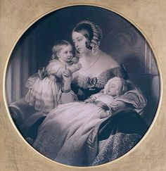 Queen Victoria with Victoria princess royal (Vicky) and Prince albert Edward (bertie) ~ ~ ~ Queen Victoria Children, Queen Victoria Family, Queen Victoria Prince Albert, Victoria And Albert, Princess Victoria, Victoria's Children, Alexandra Of Denmark, Famous Historical Figures, Isabel Ii