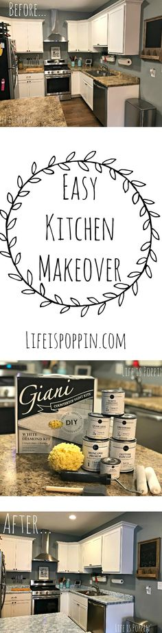 Frugal Kitchen Makeover: Giani Countertop Paints - Life is Poppin' Countertop Paint Kit, Painting Countertops, Diy Kitchen Projects, Diy Projects, Home Decor Inspiration, Decor Ideas, Fall Diy, Organization Hacks, Home Renovation