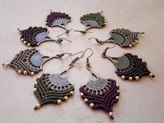 Macrame bohemian earrings 7 chakras feminine bohemian por QuetzArt