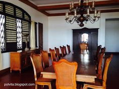 Dining area at Malacanang of the North, Ilocos Norte, Philippines Ilocos, Philippines Travel, Travel Abroad, Dining Area, Adventure Travel, Travel Photos, Places To Visit, Ceiling Lights, Blog