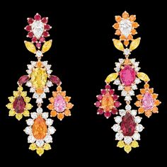 Dear Dior Shine Earrings - Dior ( Earrings Chandelier Red Orange Yellow Ruby Assorted stones Diamond Gold - Pink / Red)