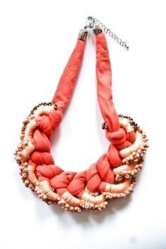 Necklace collier coral apricot lightrose crochet rocailles orange copper beaded. €99.00, via Etsy.