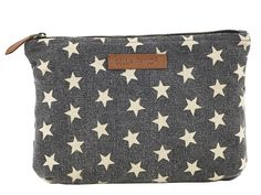 "These classic Americana stars get distressed treatment in this charcoal and crème enzyme-washed canvas; trimmed in tan faux leather. Shown in the Personal Pouch, Set of 2. This set is great for travelling and perfect for organizing essentials like makeup, tissues, pens gum and more. Hardware is antique brass. The larger pouch measures 6.25x9x.5"", the smaller pouch measures 5x7x.5"" Price 17.95"