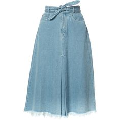 Zimmermann drawstring denim skirt (2,400 MYR) ❤ liked on Polyvore featuring skirts, bottoms, saias, blue, knee length denim skirt, drawstring skirt, zimmermann, zimmermann skirt and blue denim skirt