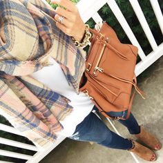 IG @mrscasual <click through to shop this outfit> pink plaid blanket scarf, cognac bag peep toe booties