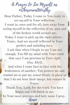 A Prayer to See Myself As #ChosenandWorthy - To the Girl Who Doesn't Know She is Worthy - Lori Schumaker