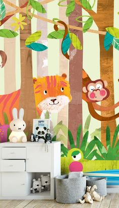 Monkeys Stunning Monkeys wall mural from Wallsauce. This high quality Monkeys wallpaper is custom made to your dimensions. How to create a fun kids room with colourful jungle wallpaper with animals. Kids Room Murals, Murals For Kids, Kids Room Paint, Wall Murals, Wallpaper Murals, Wall Art, Monkey Wallpaper, Animal Wallpaper, Clearance Wallpaper