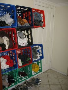 Picture of milk crate clothing storage