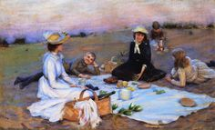 Charles Courtney Curran (American artist, 1861-1942) Picnic Supper on the Sand Dunes