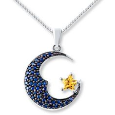 Moon Star Necklace Lab Created Sapphires Sterling Silver