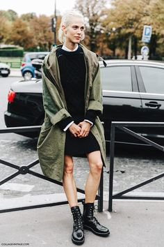 i like the feel of this outfit more than i like the pieces themselves. i love the olive with the black and white, and the layering.