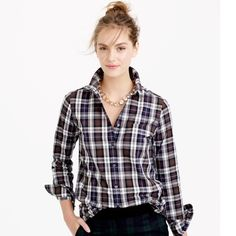 "NWT J.Crew Shrunken Boy Shirt in Forest Plaid Tired of stealing his? This classic shirt is made just for you in a plaid poplin with a shrunken-down fit that's perfect on its own or for layering. Cotton. Long roll-up sleeves. Chest pocket. Body length: 27"". J. Crew Tops Button Down Shirts"