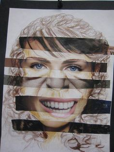 "After spending time teaching my students how to draw the ""perfect"" Greek face, we begin a collage. They search magazines to find similar size features, (old, young, male, female, children) and glue them in the proper place. Their challenge is to add what is missing and pull the variety of magazine cutouts together with colord pencils to create a face. #Drawing #portrait"