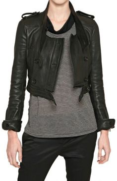 Burberry Prorsum Nappa Leather Biker Jacket in Black