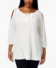 404b33e3bc0 American Rag Plus Size Ruffled Cold-Shoulder Peasant Top   Reviews - Tops -  Plus Sizes - Macy s