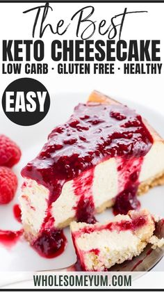 Low Carb Recipe - Sugar-Free Keto Cheesecake - A gluten-free, low carb cheesecake recipe that's EASY to make with only 8 ingredients and 10 minutes prep time. This sugar-free keto cheesecake tastes just like the real thing - delicious! Healthy Low Carb Recipes, Low Carb Desserts, Low Carb Keto, Keto Recipes, Dessert Recipes, Low Carb Food, Shrimp Recipes, Breakfast Recipes, Pavlova